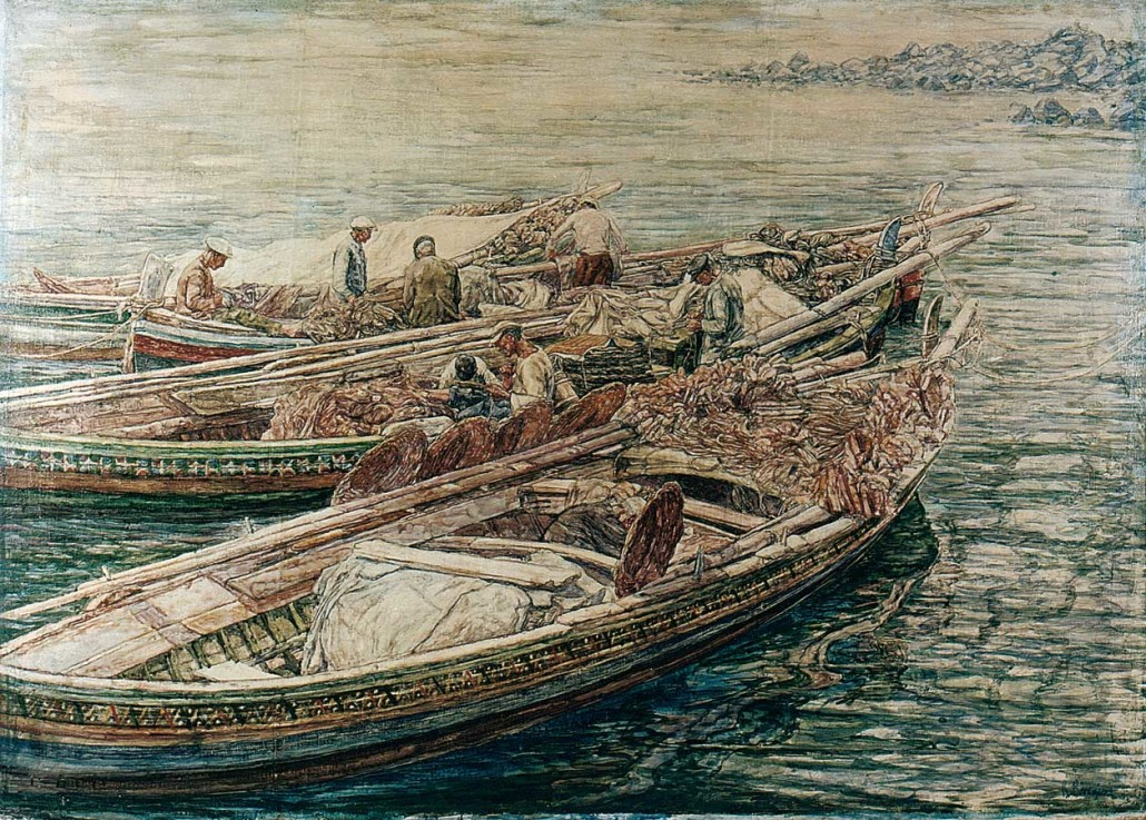 100 Barche con pescatori e reti